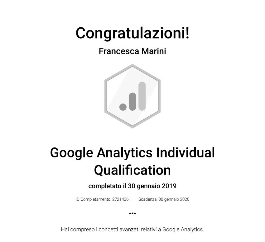 Certificazione Individuale Google Analytics 2019